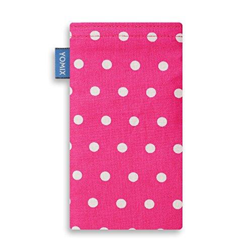 YOMIX Handytasche | Tasche | Hülle MALIN für Apple iPhone X aus Jeansstoff mit genialer Display-Reinigungsfunktion durch Microfaserinnenfutter GUNILLA pink
