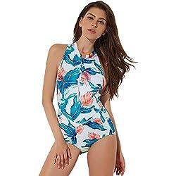 KPILP Combinaisons de Plongée et de Surf Femme -Confortable Les Loisirs Manches Longues - Fermeture à Glissière - Siamois - Spandex + Nylon Costume de Surf(Multicolore-2,S)