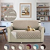 Premium Reversible Plush Non-Slip Pet Dog Covers Living Room Sofa Slipcovers Furniture Protector with 2' Straps, Wear Resistant & Waterproof – 46'' x 75'' Sand