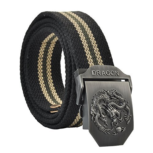 """Faleto Mens Adjustable Canvas Web Belt Dragon Buckle Military Style 49.2"""" with Box"""