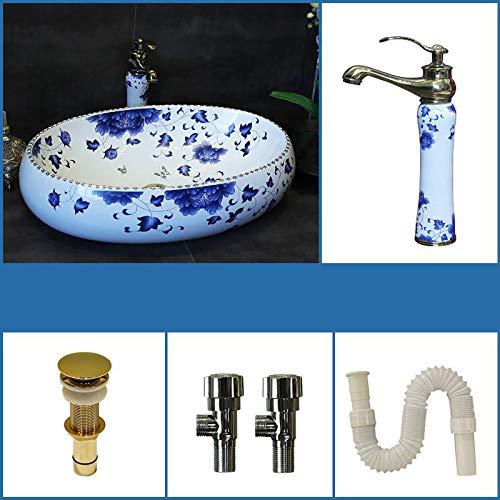 Badezimmer Becken Blau Weiß Waschbecken Keramik Chinesische Kunst Antik Runde Design 6 Ein Satz -