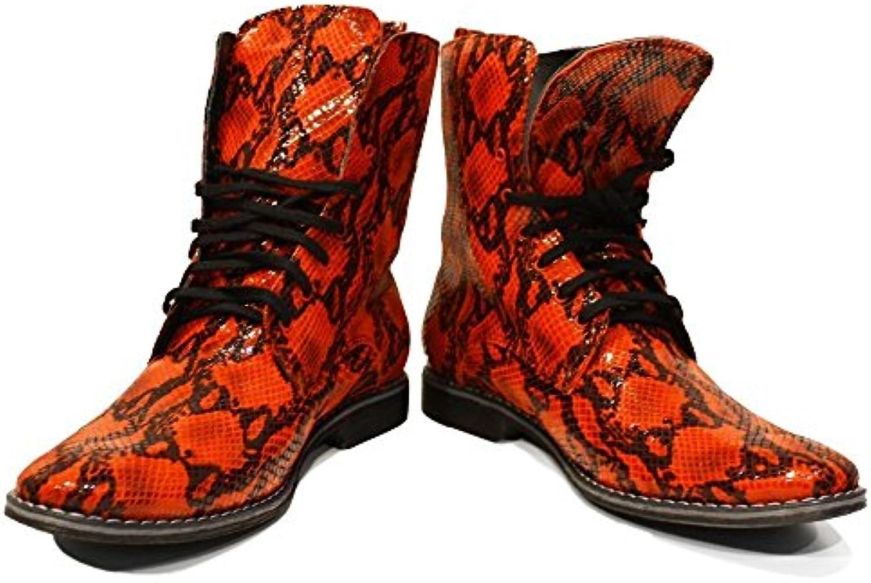 PeppeShoes Modello Cerberus   Handgemachtes Italienisch Leder Herren Rot Hohe Stiefel   Rindsleder Geprägtes Leder
