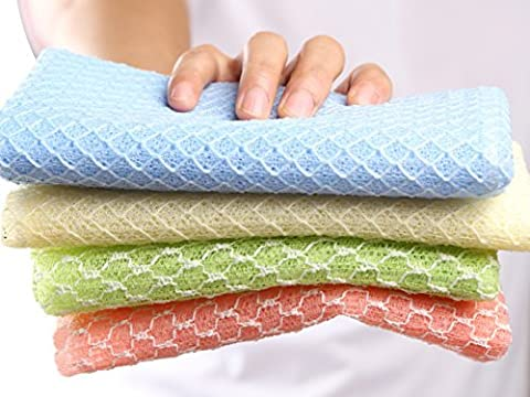 SkinCareMedi - Korean Exfoliating Bath Towel Set (Pack Of 4) / Wash Cloth With Soap & Gel / Back Scrubber For Shower Body Scrub / Hard Weave Soft & Smooth Knitted Loofah / 4Colors 2Materials