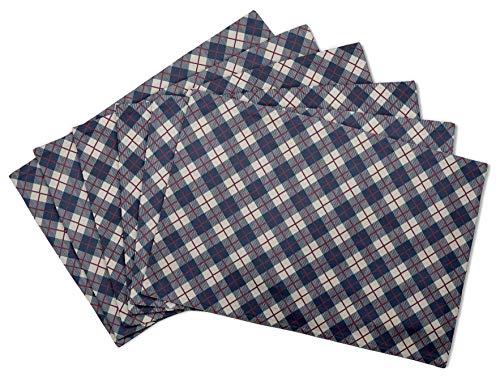 Diagonale Mantel (S4Sassy Azul diagonal comprobar mesa decorable Reversible comedor placemats conjunto lavable-12 x 18 pulgadas-4 pcs)