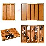 Ritapreaty - Cubertería expandible de bambú, Bandeja organizadora de Cubiertos, cajón de Cocina, Caja de Almacenamiento con Dimensiones Ajustables
