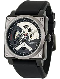 Stuhrling Original Men's Leisure Raven Diablo Automatic Skeleton Black Rubber Strap Watch - 179A.331613