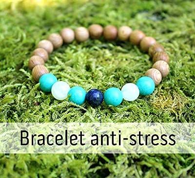 Bracelet anti stress et sérénité pour femme, perles de bois et pierres naturelles, turquoise, pierre de lune, lapis lazuli, cadeau anniversaire Noël mariage