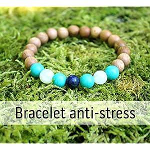 Anti Stress und Gelassenheit Armband für Frauen, Holzperlen und Natursteine, Türkis, Mondstein, Lapislazuli…