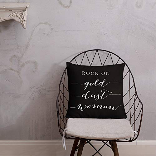 Se556th Rock On Gold Dust Woman Black Throw Pillow Print beide Seiten 45,7 x 45,7 cm Hülle mit Einsatz Stevie Nicks Fleetwood Mac Concert Home Dorm Decor - Womens Designer Baumwolle Rock