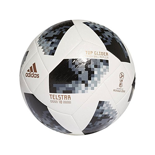 buy online de2fe 4179f BALL FIFA WORLD CUP TOP GLIDER White Black Silver Metallic 2018 Adidas SIZE  5