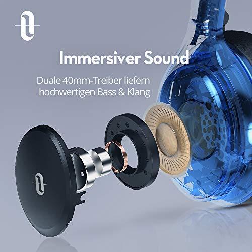 TaoTronics Noise Cancelling Kopfhörer Bluetooth Kopfhörer Over Ear mit aktiver Rauschunterdrückung 25 Std. Laufzeit, TT-BH22 mit eingebauten Mikro CVC 6.0, duale 40 mm Tieftontöner, Faltbare Ohrhörer - 5