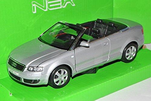 Preisvergleich Produktbild Audi A4 B6 Cabrio Silber 2000-2006 1/24 Welly Modell Auto mit individiuellem Wunschkennzeichen