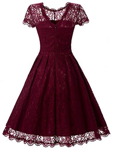 FLYCHEN Damen Elegant Kleider Vintage 1950s Spitzenkleid Cocktailkleid Knielange Swing hochzeitskleid Partykleid Abendkleid Burgundy