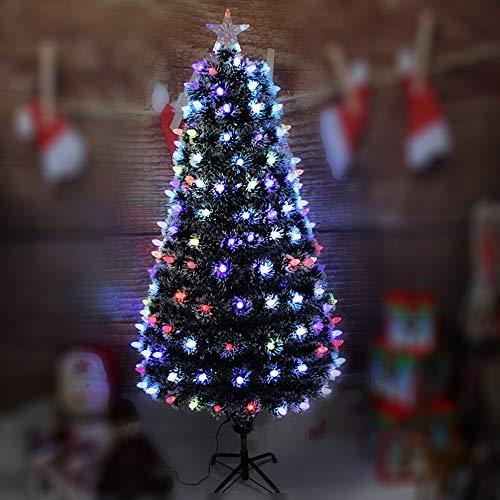 DWODWO228 Decorazioni Natalizie, 1,2, 1,5, 1,8, 2,1 Metri, Fiocchi di Neve, Bagliore Colorato, Albero di Natale in Fibra Ottica, Decorazione D'interni, Layout della Scena,2.4m/7.9ft