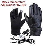 Beheizte Handschuhe Für Herren Damen,Thermoelektrische Heizhandschuhe Mit Anti-Rutsch-Partikel Gloves PU Leather Winter Wärmer Touchscreen Motorrad Reiten Winddicht Wasserdichte Elektrische Handschuhe