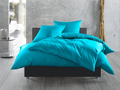 Mako-Satin Baumwollsatin Bettwäsche uni einfarbig zum Kombinieren (Kissenbezug 40 cm x 60 cm, Türkis) viele Farben & Größen (Reißverschluss Kissenbezug Satin)