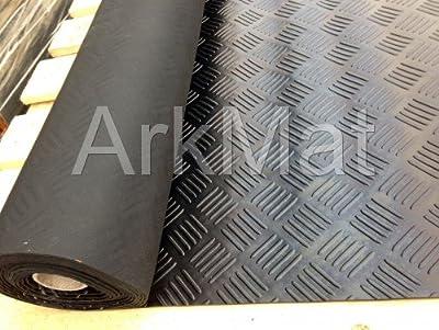 Garage Rubber Checker Plate Flooring 1m X 5m X 3mm - inexpensive UK light shop.