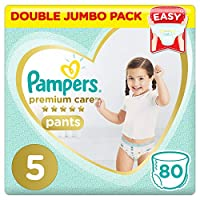 Pampers Premium Care Pants Diapers, Size 5, Junior, 12-18kg, Double Jumbo Pack, 80 Count