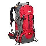 SKYSPER 50L Zaino da Treking, Zaino Impermeabile con Copertura della Pioggia per Viaggio Trekking Escursione Rosso