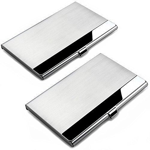 """Especificación:   Material: Acero inoxidable de calidad superior  Capacidad: 10 -12 tarjetas  Dimensión: 3.66 """"L x 2.2"""" W x 0.3 """"H  Peso: 2 onzas    Lista de embalaje:   2 casos de la tarjeta de visita de x"""