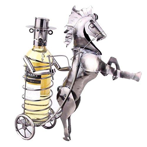 Eisen Kunst Weinlese Pferd Gezeichnete Wagen Modell Wine Rack,Metallic