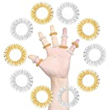 ofoen 10 Pieces Massage Rings, Acupressure Finger Massage Ring Body Acupuncture Massager Gold & Silver