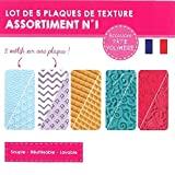 DTM 11032 Plaque Texture Souple Thermoformée 210x148x1.5mm Rouleau Machine Pâte Motifs Lot de 5 Assorties