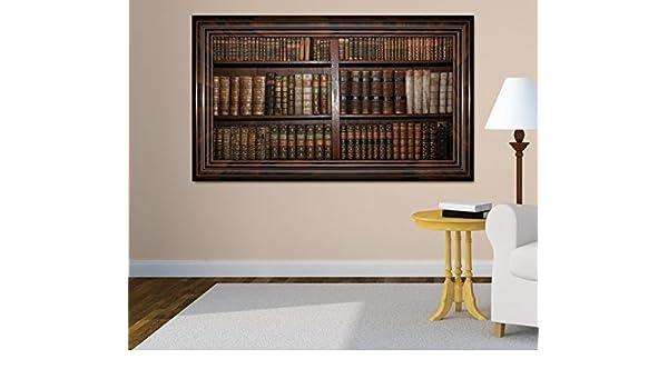 Fußboden Tattoo 3d ~ 3d wandtattoo alte bücher buch regal antik bibliothek