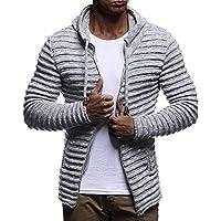 YanHoo Suéter de los Hombres Blusa de Manga Larga de Punto Abrigo de Raya de Punto