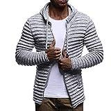 SEWORLD Herren Herbst Winter Sport Charm Herren Slim Fit Beiläufige Langarm Kapuzen Solide Streifen Stricken Mantel Jacke Langarm Outwear Bluse(Grau,EU-50/CN-L)