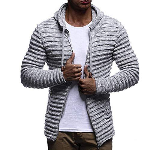 Herren Mode Mantel Jacken, JiaMeng Herbst Winter Solid Knit Stripe Mantel Jacke Langarm Outwear Bluse lässig Kapuzen Strick Reißver schluss Pullover, Weihnachten Kostüme