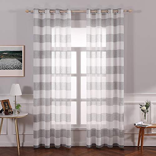 Miulee voile tenda finestra strisce orizzontali con occhielli a pannello tende trasparenti righe per soggiorno e camera da letto 2 pannelli 140 x 260 cm grigio chiaro
