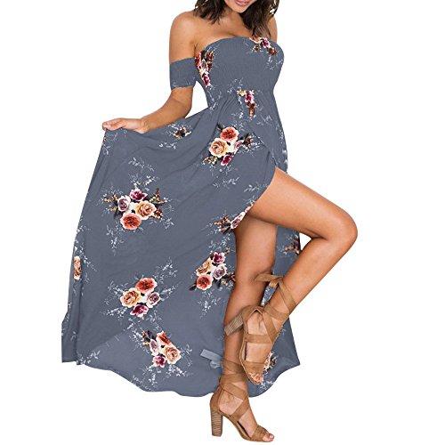 R-Cors Sommerkleider Damen Blumen Maxi Kleid Schulterfreies Abendkleid Strandkleid Party Schulter Kleider Chiffon Kleid