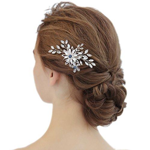 hopewey Hochzeit Blumenhaarclip Haarreif Strass Kristall Blatt Haarband Handarbeit Eleganter Retro elegant Damen Blumen Braut Kamm Perlen Strass Hochzeit...