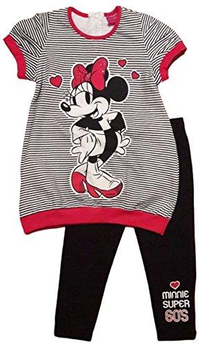 Disney minnie - completo maxi maglia e leggings a righe (4 anni)