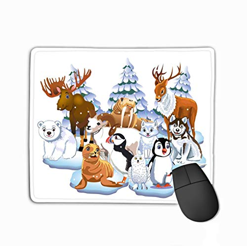 Mouse Pad Set Arctic Animals Like Seal Walrus Moose Reindeer Penguin Polar Bear Fox Isolated White Rectangle Rubber Mousepad 11.81 X 9.84 Inch (Moose Set Bad)