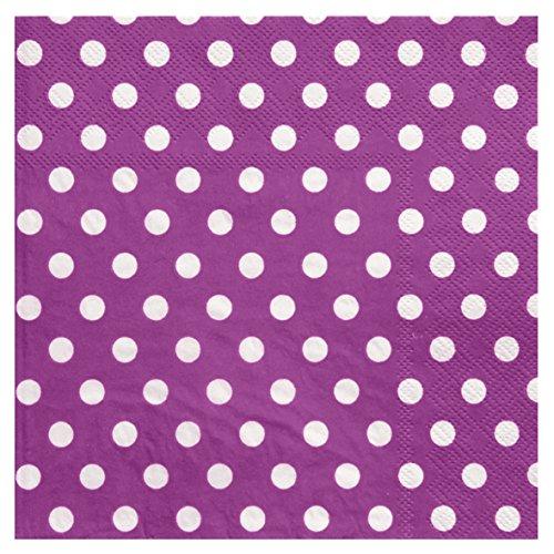 Servietten Dots lila mit weißen Punkten Tischdekoration Dinnerservietten Cocktailservietten Serviettenringe - 3051