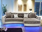Multimedia Sofa Larenio HiFi Wohnlandschaft 322x200 cm greige Couch Mikrofaser Hi Fi LED Beleuchtung Wohnzimmer
