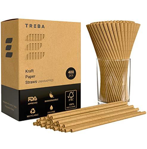TREBA 400 Pajitas Biodegradables Papel Kraft- Pajitas