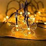 AOFENG LED Solarlichterkette Solar Lichterkette Wasserdicht Außenlichterkette Weihnachtsbeleuchtung mit 30er LEDs Beleuchtung für Hochzeit, Party, Garten 6.5M (Schmetterling, Warmweiß)