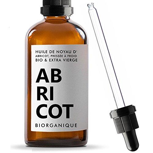 Huile de Noyau d'Abricot 100% Bio, Pure, Naturelle et Pressée à froid - 100 ml -...
