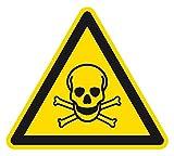 Warnzeichen - Warnung vor giftigen Stoffen - Aluminium Selbstklebend 10 x 10 cm