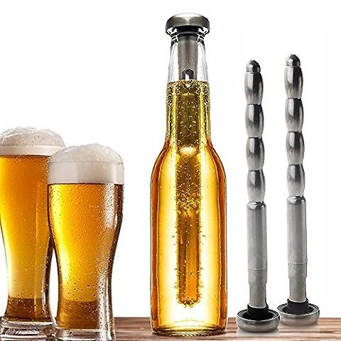 ZOGIN Lot de 2PCS Rafraîchisseur de Bière Refroidisseur de Bière Acier Inox Chiller Stick Beer Cooler Rod Bâtons de refroidissement Rafraîchir Bière Outil de Réfrigérateur Refroidir la boisson la bière le vin le champagne