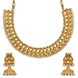 Adiva Kundans Wedding White Copper Alloy Jewellery Set with Necklace and Earring for Women