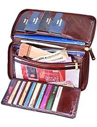 ABYS Genuine Leather Brown Unisex Business Card Holder||Passport Wallet||Passport Holder||Cheque Book Pouch with Zip Closure