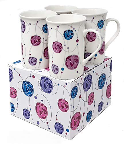 c160f1d911 Giftboxed Set of 4 Matching China Mugs With Rennie Mackintosh Rose Inspired  Design - By Yorkshire