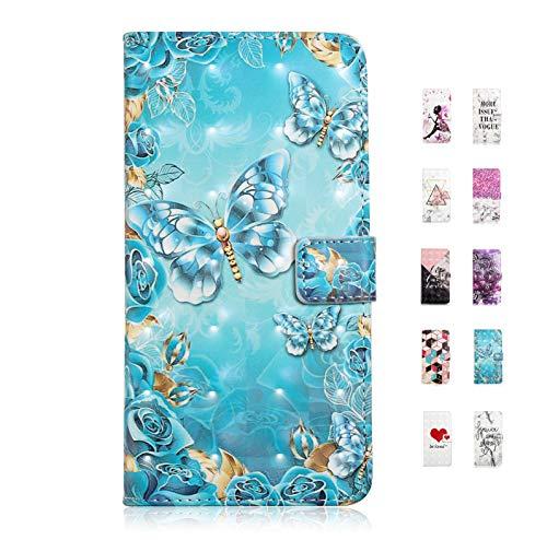 UCool Cover Custodia Samsung Galaxy S7 Caso Flip Portafoglio a Libro Pelle PU Belle Blue Butterfly + Foglie 3D Disegni Bumper Protettiva Antiurto on Funzione Supporto Chiusura Magnetica