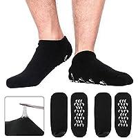 happon grandes hombres hidratantes Gel de calcetines Hombres Cuidado de los pies Tratamiento definitiva para seca rissige Pedicura en pies Paquete con 2pares de calcetines (Gel de Silicona talón aliviar espolón calcáneo (Negro)
