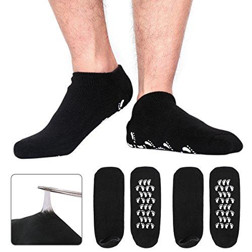 Happon Große Männer Feuchtigkeitsspendende Gel-Socken Männer Fußpflege Behandlung für trockene rissige raue Haut auf Füßen Packung mit 2 Paar Silikon Gel Fersen Socken lindern Fersensporn (Schwarz)
