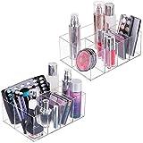 mDesign organiseur à maquillage (lot de 2) - boîte de rangement maquillage avec cinq compartiments pour cosmétiques, vernis à ongles et produits de beauté - rangement make up pratique - transparent